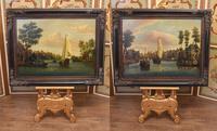 Pair Antique Dutch Oil Paintings Boat Scenes Riverscape 1860 (3 of 12)
