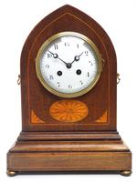 Fantastic French Inlaid Lancet Mantel Clock Multi Wood inlay 8 Day Striking Mantle Clock (6 of 10)