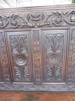 Country Oak Carved Settle Depicting Phoenix 1750 (5 of 13)