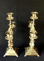 Pair of Heavy Brass Aesthetic Movement Three Branch Candelabra. (3 of 8)