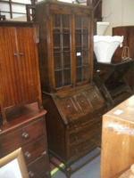 Glazed Oak Bureau Bookcase (2 of 7)
