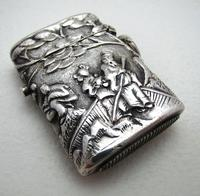Very Rare Wang Hing Solid Silver Chinese Export Antique Vesta Case Match Box, 19th-Century c.1890 (4 of 9)