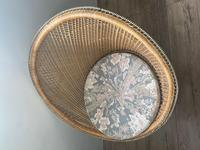 Vintage Boho Mid 20th Century Rounded Peacock Rattan Chair with Cushion (7 of 15)