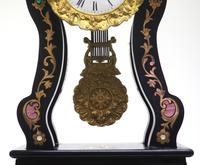Antique Boulle Inlaid Mantel Clock Ebony French Portico Mantle Clock (4 of 6)