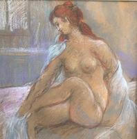 Original pastel 'Seated nude' by Dennis Gilbert NEAC. B.1922. From a studio collection (2 of 2)