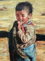 """Chinese Portrait Oil Canvas Painting """"Tribal Young Boy In Gobi Desert"""" Signed Exhibited Yi Ren Gallery (2 of 12)"""