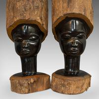 Pair Of, Antique Carved Heads, African, Ebony, Decorative Statue, Victorian (10 of 11)