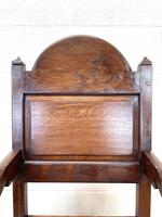 Pair of Antique Oak Throne Chairs (10 of 13)