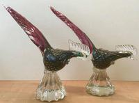 Pair of Murano Glass Cranberry Pheasants   1950's (2 of 4)