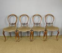 Antique Set of 4 Mahogany Balloon Back Chairs (3 of 8)
