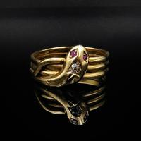 Antique Diamond Snake Serpent 18ct Gold Ring Band (3 of 6)