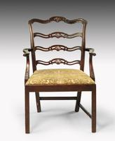 Substantial Early 20th Century Chippendale Style Ladderback Elbow Chair (2 of 8)