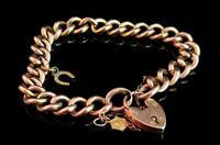 Antique 9ct Gold Curb Bracelet, Edwardian (2 of 9)