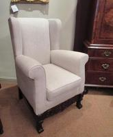 Antique Linen Upholstered Wing Back Armchair (6 of 6)