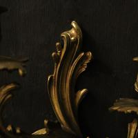 French Pair of Bronze Antique Wall Sconces (8 of 10)