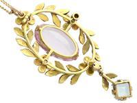 8.84ct Pink Topaz, 1.80ct Aquamarine, 0.10ct Ruby & Enamel, 15ct Yellow Gold Pendant - Antique c.1910 (5 of 9)