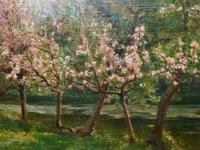 Superb Early 1900s Spring Blossom Riverscape Impressionist Oil Painting (9 of 13)
