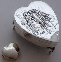 Rare Large 1904 Hallmarked Solid Silver Love Heart Pill Earring Jewellery Box (7 of 13)
