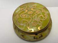 Antique Art Nouveau Loetz Art Glass Round Gilt Floral Trinket Box (28 of 33)