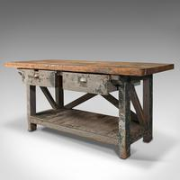 Large Antique Silversmith's Bench, English, Pine, Craftsman's Table, Victorian (3 of 10)