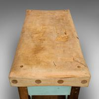 Antique Butcher's Chopping Block, Beech, Teak, Work Bench, Kitchen Island, Table (3 of 11)
