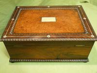QUALITY Inlaid Rosewood & Amboyna Jewellery – Work Box. c1840 (11 of 16)