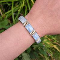 Vintage Sterling Silver Moonstone Panel Bracelet (10 of 11)
