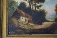 19th Century Oil on Board Thatched Cottage (8 of 10)