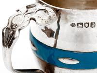 Arts and Crafts Christening Mug with Hammered Style Body and Blue Enamel Band (3 of 5)