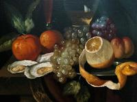 Fine Original 19thc Antique Spanish Fruit Wine & Oyster Still Life Oil Painting (6 of 13)