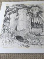 """William Papas """" Canterbury """" Ink Drawing 1970's - 1 of 6 Listed (9 of 10)"""