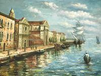Large Italian Art Impressionism Oil Marine Painting Ships Docked Island Giudecca Venice Waterfront (11 of 12)