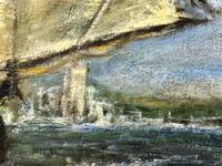 """20th Century Marine Oil Painting """"Sea Captains View From the Deck"""" Ships By Shoreline (12 of 15)"""
