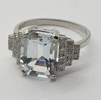 Platinum Pale Aquamarine & Diamond Ring (2 of 8)