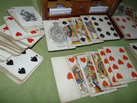 Unusual Oak Games Box - Bezique + Antique Cards + More (14 of 16)