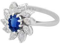 1.20ct Sapphire & 2.35ct Diamond, 18ct White Gold Cluster Ring - Vintage c.1960 (3 of 9)