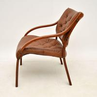 Pair of Scandinavian Bentwood & Leather Vintage Armchairs (7 of 14)