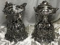 Pair English Sheffield Silver Champagne Rock Crystal Ice Cooler Cherub Vases (10 of 12)