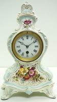 Antique 8 Day Porcelain Mantel Clock Sevres Egg Shell Blue Floral French Mantle Clock (2 of 12)