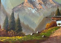 The Three Peaks 20thc Vintage Swiss School - Mountainous Landscape Oil Painting (6 of 12)
