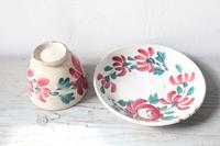 19th Century Floral Decorated Spongeware Pottery Bowl & Dished Saucer (12 of 24)