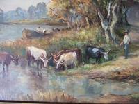 M J Rendell:  Mid 20th Century Oil on Board - Cattle Watering in Rural Landscape (4 of 7)