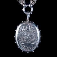 Antique Victorian Forget Me Not Locket Collar Necklace Sterling Silver Dated 1882 (8 of 9)