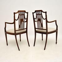 Pair of Antique Edwardian Inlaid  Mahogany Armchairs (12 of 12)