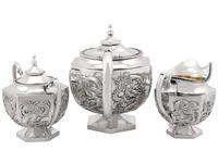 Chinese Export Silver Three Piece Tea Service - Antique c.1900 (2 of 12)