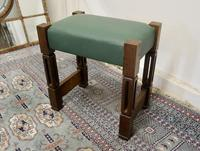 Stylish Arts and Crafts Oak and Leather Stool