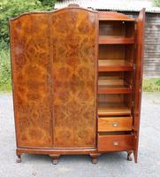 1940s Burr Walnut 3 Door Wardrobe Well Fitted (4 of 6)