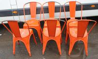 1960's Retro Set 6 Orange Metal Chairs (3 of 3)