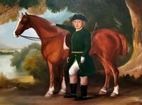 Lovely Large Primitive School Rococo Framed Oil Portrait Painting Horse & Rider (4 of 13)
