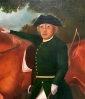 Lovely Large Primitive School Rococo Framed Oil Portrait Painting Horse & Rider (5 of 13)